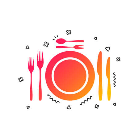 Plate dish with forks and knifes. Dessert trident fork with teaspoon. Eat sign icon. Cutlery etiquette rules symbol. Colorful geometric shapes. Gradient cutlery icon design.  Vector