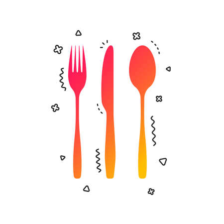 Fork, knife, tablespoon sign icon. Cutlery collection set symbol. Colorful geometric shapes. Gradient cutlery icon design.  Vector