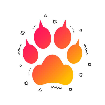 Dog paw with clutches sign icon. Pets symbol. Colorful geometric shapes. Gradient dog paw icon design.  Vector Illustration