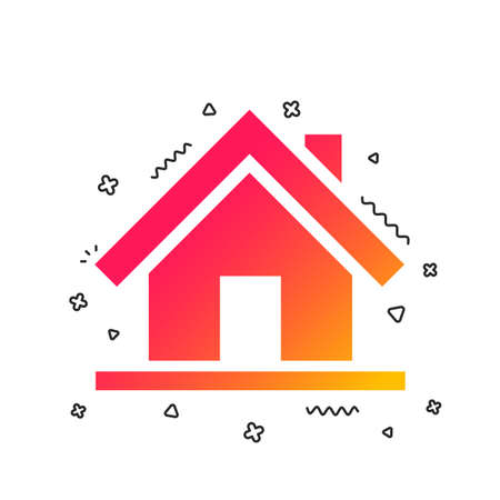 Home sign icon. Main page button. Navigation symbol. Colorful geometric shapes. Gradient home icon design.  Vector