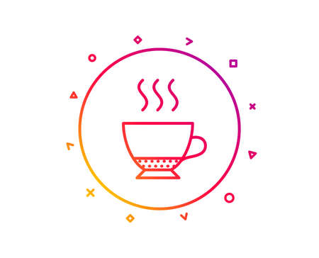 Espresso coffee icon. Hot drink sign. Beverage symbol. Gradient pattern line button. Espresso icon design. Geometric shapes. Vector