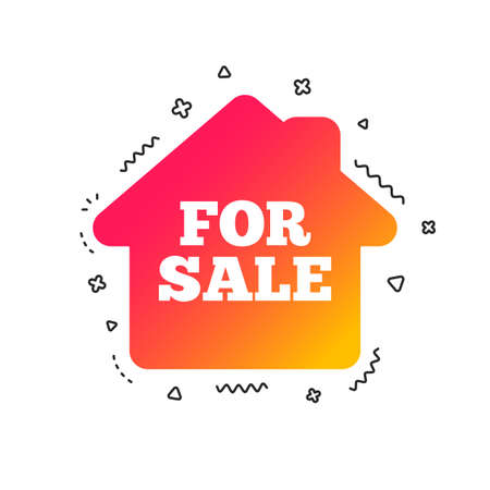For sale sign icon. Real estate selling. Colorful geometric shapes. Gradient for sale icon design.  Vector