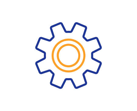 Cogwheel line icon. Service sign. Transmission Rotation Mechanism symbol. Colorful outline concept. Blue and orange thin line color icon. Service Vector