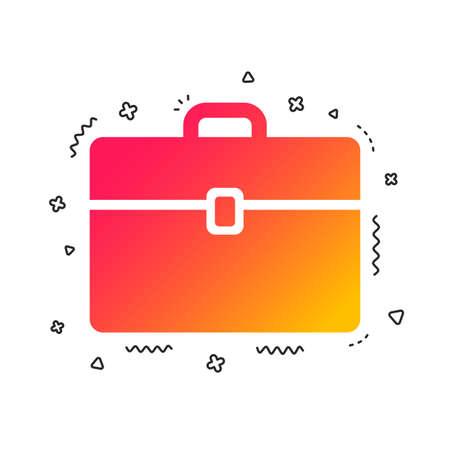 Case sign icon. Briefcase button. Colorful geometric shapes. Gradient case icon design.  Vector