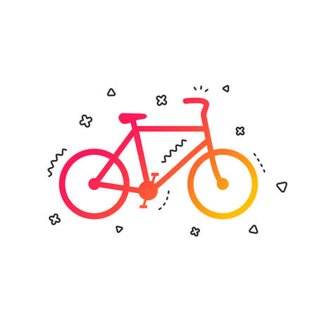 Bicycle sign icon. Eco delivery. Family vehicle symbol. Colorful geometric shapes. Gradient bicycle icon design.  Vector