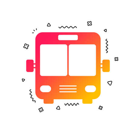 Bus sign icon. Public transport symbol. Colorful geometric shapes. Gradient bus icon design.  Vector Ilustracja