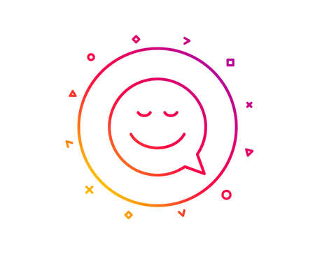 Comic speech bubble with Smile line icon. Chat emotion sign. Gradient pattern line button. Smile icon design. Geometric shapes. Vector