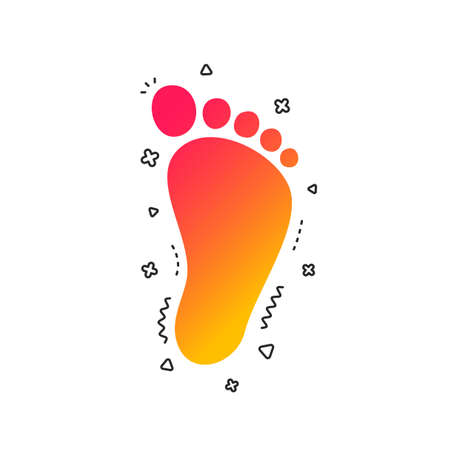 Child footprint sign icon. Toddler barefoot symbol. Colorful geometric shapes. Gradient footprint icon design.  Vector