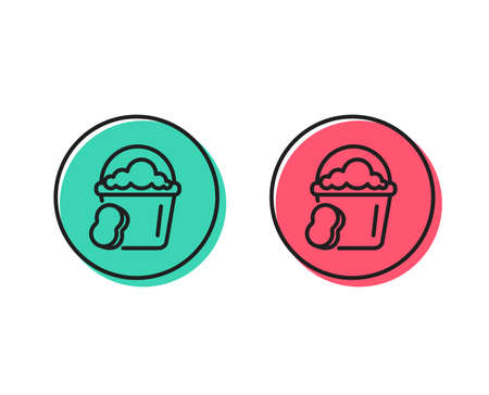 Cleaning bucket with sponge line icon. Washing Housekeeping equipment sign. Positive and negative circle buttons concept. Good or bad symbols. Sponge Vector Illustration