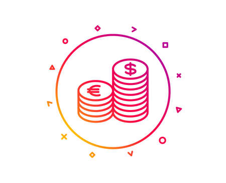Coins money line icon. Banking currency sign. Euro and Dollar Cash symbols. Gradient pattern line button. Currency icon design. Geometric shapes. Vector