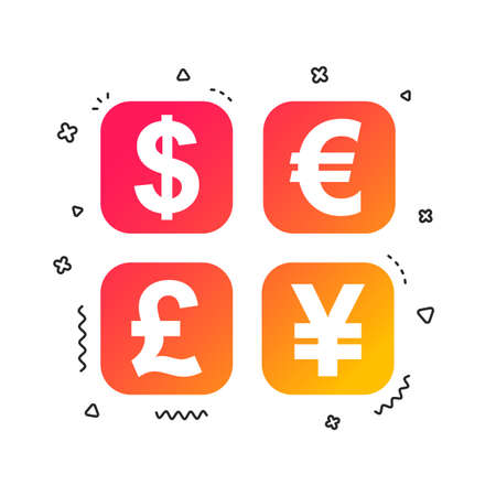 Currency exchange sign icon. Currency converter symbol. Money label. Colorful geometric shapes. Gradient currency exchange icon design.  Vector