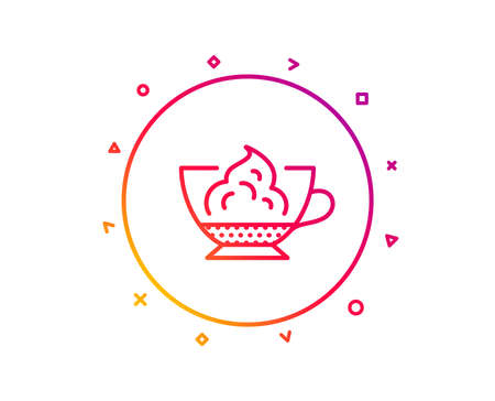 Espresso with whipped cream icon. Hot coffee drink sign. Beverage symbol. Gradient pattern line button. Espresso cream icon design. Geometric shapes. Vector Banque d'images - 112887592