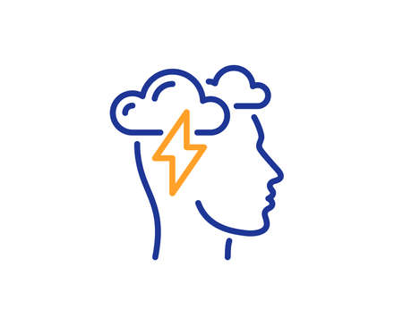 Mindfulness line icon. Psychology sign. Cloud storm symbol. Colorful outline concept. Blue and orange thin line color Mindfulness stress icon. Vector