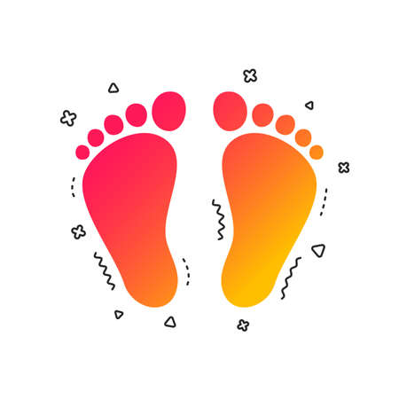 Child pair of footprint sign icon. Toddler barefoot symbol. Colorful geometric shapes. Gradient footprint icon design.  Vector  イラスト・ベクター素材