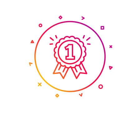 Reward Medal line icon. Winner achievement or Award symbol. Glory or Honor sign. Gradient pattern line button. Reward icon design. Geometric shapes. Vector