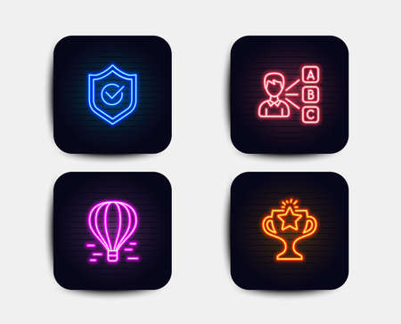 Neon set of Air balloon, Opinion and Approved shield icons. Victory sign. Flight travel, Choose answer, Protection. Championship prize. Neon icons. Glowing light banners. Vector