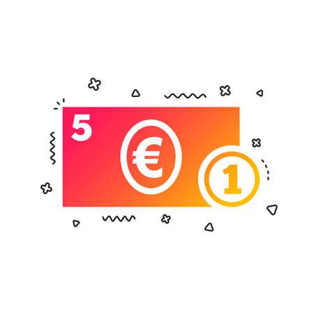 Cash sign icon. Euro Money symbol. EUR Coin and paper money. Colorful geometric shapes. Gradient cash icon design.  Vector Foto de archivo - 112671849