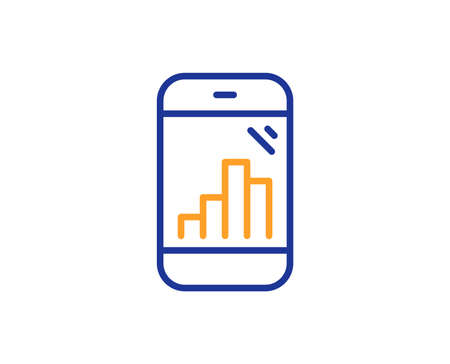 Graph phone line icon. Column chart sign. Growth diagram symbol. Colorful outline concept. Blue and orange thin line color Graph phone icon. Vector