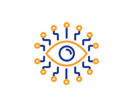 Artificial intelligence line icon. All-seeing eye sign. Colorful outline concept. Blue and orange thin line color icon. Artificial intelligence Vector