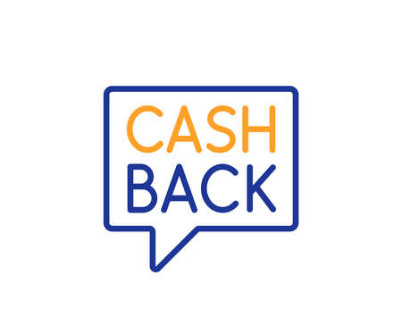 Cashback service line icon. Money transfer sign. Speech bubble symbol. Colorful outline concept. Blue and orange thin line color icon. Money transfer Vector