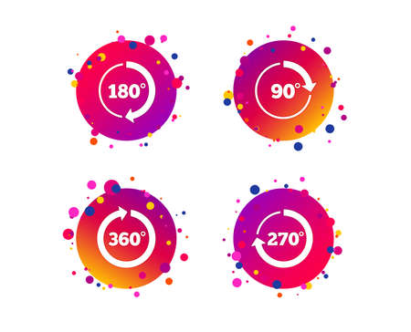 Angle 45-360 degrees circle icons. Geometry math signs symbols. Full complete rotation arrow. Gradient circle buttons with icons. Random dots design. Vector