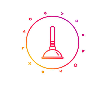 Cleaning plunger line icon. Ð¡leaning of pipe clogs symbol. Housekeeping equipment sign. Gradient pattern line button. Plunger icon design. Geometric shapes. Vector Illustration