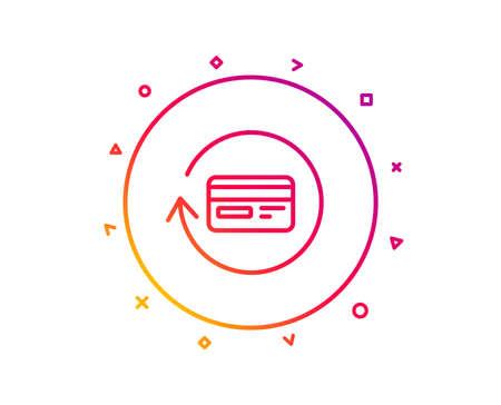 Credit card line icon. Banking Payment card sign. Cashback service symbol. Gradient pattern line button. Refund commission icon design. Geometric shapes. Vector Stock fotó - 112887636