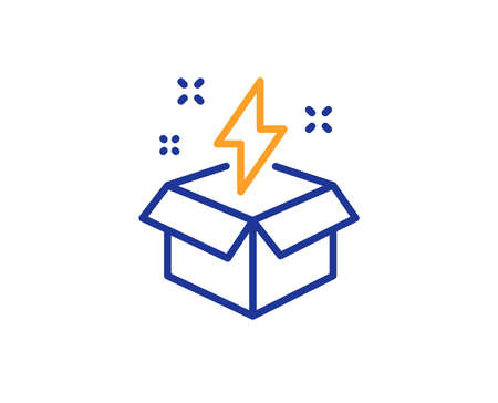 Out of the box line icon. Creativity sign. Gift box with lightning bolt symbol. Colorful outline concept. Blue and orange thin line color icon. Creative idea Vector