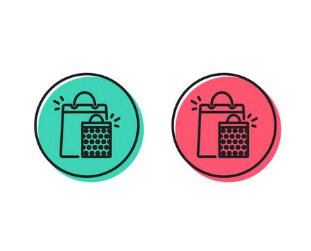 Shopping bags line icon. Sale Marketing symbol. Special offer sign. Positive and negative circle buttons concept. Good or bad symbols. Shopping bags Vector