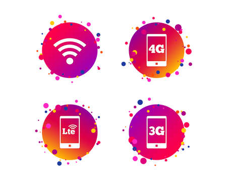 Mobile telecommunications icons. 3G, 4G and LTE technology symbols. Wi-fi Wireless and Long-Term evolution signs. Gradient circle buttons with icons. Random dots design. Vector Illustration