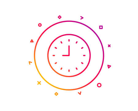 Clock line icon. Time sign. Office Watch or Timer symbol. Gradient pattern line button. Clock icon design. Geometric shapes. Vector