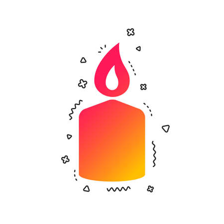 Candle sign icon. Fire symbol. Colorful geometric shapes. Gradient candle icon design.  Vector Иллюстрация