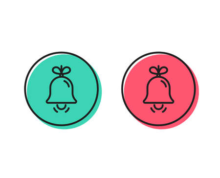 Christmas bell line icon. New year tree decoration sign. Positive and negative circle buttons concept. Good or bad symbols. Bell Vector Archivio Fotografico - 112887658