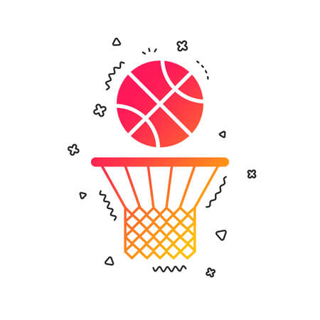 Basketball basket and ball sign icon. Sport symbol. Colorful geometric shapes. Gradient basketball icon design.  Vector Illustration
