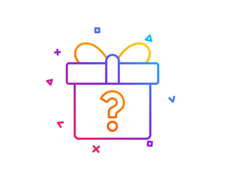 Gift box with Question mark line icon. Present or Sale sign. Birthday Shopping symbol. Package in Gift Wrap. Gradient line button. Secret gift icon design. Colorful geometric shapes. Vector
