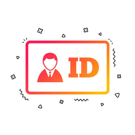 ID card sign icon. Identity card badge symbol. Colorful geometric shapes. Gradient id icon design.  Vector