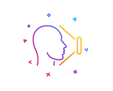 Face scanning line icon. Phone Face id sign. Head identification symbol. Gradient line button. Face id icon design. Colorful geometric shapes. Vector