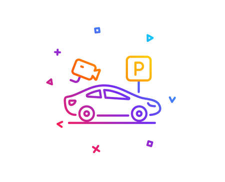 Parking with video monitoring line icon. Car park sign. Transport place symbol. Gradient line button. Parking security icon design. Colorful geometric shapes. Vector Иллюстрация