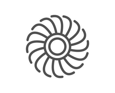Icona della linea del motore del ventilatore. Segno della turbina a getto. Simbolo del ventilatore. Elemento app piatto di design di qualità. Corsa modificabile Icona del motore del ventilatore. Vettore Vettoriali