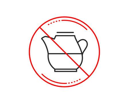 No or stop sign. Milk jug for coffee icon. Fresh drink sign. Beverage symbol. Caution prohibited ban stop symbol. No  icon design.  Vector Illustration