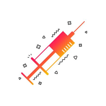 Syringe sign icon. Medicine symbol. Colorful geometric shapes. Gradient syringe icon design.  Vector
