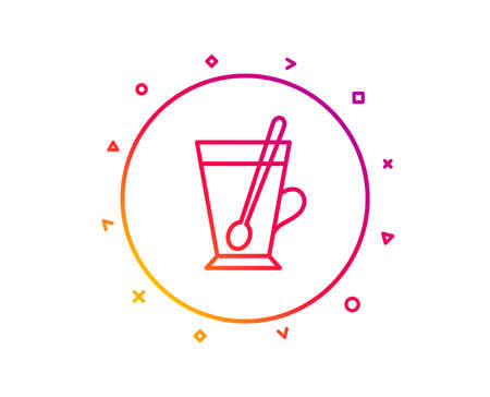 Cup with spoon line icon. Fresh beverage sign. Latte or Coffee symbol. Gradient pattern line button. Tea mug icon design. Geometric shapes. Vector