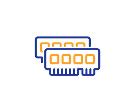 Ram line icon. Computer random-access memory component sign. Colorful outline concept. Blue and orange thin line color Ram icon. Vector Illustration