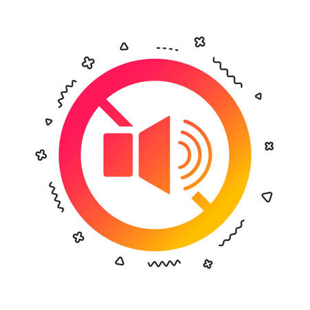 Speaker volume sign icon. No Sound symbol. Colorful geometric shapes. Gradient speaker icon design.  Vector