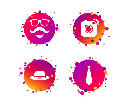 Hipster photo camera. Mustache with beard icon. Glasses and tie symbols. Classic hat headdress sign. Gradient circle buttons with icons. Random dots design. Vector