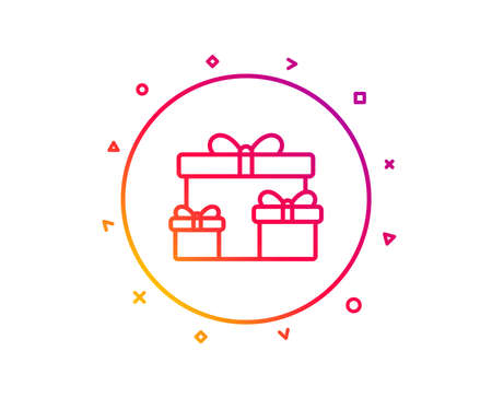 Gift boxes line icon. Present or Sale sign. Birthday Shopping symbol. Package in Gift Wrap. Gradient pattern line button. Surprise boxes icon design. Geometric shapes. Vector