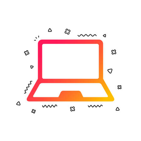 Laptop sign icon. Notebook pc symbol. Colorful geometric shapes. Gradient laptop icon design.  Vector