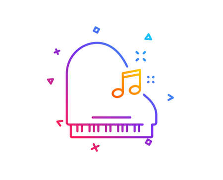 Piano line icon. Musical instrument sign. Music note symbol. Gradient line button. Piano icon design. Colorful geometric shapes. Vector  イラスト・ベクター素材
