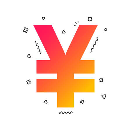 Yen sign icon. JPY currency symbol. Money label. Colorful geometric shapes. Gradient yen icon design.  Vector 向量圖像