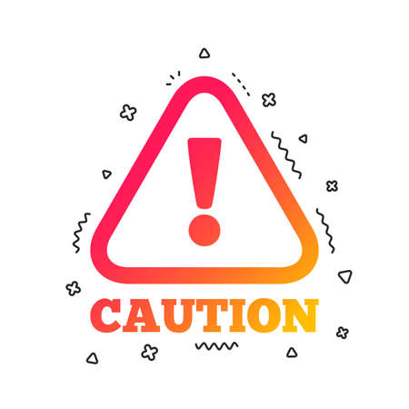 Attention caution sign icon. Exclamation mark. Hazard warning symbol. Colorful geometric shapes. Gradient caution icon design.  Vector Foto de archivo - 112672574